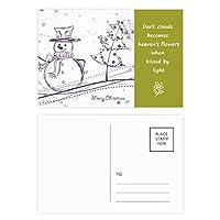 クリスマス雪だるまスノーフレークツリーのスケッチ 詩のポストカードセットサンクスカード郵送側20個