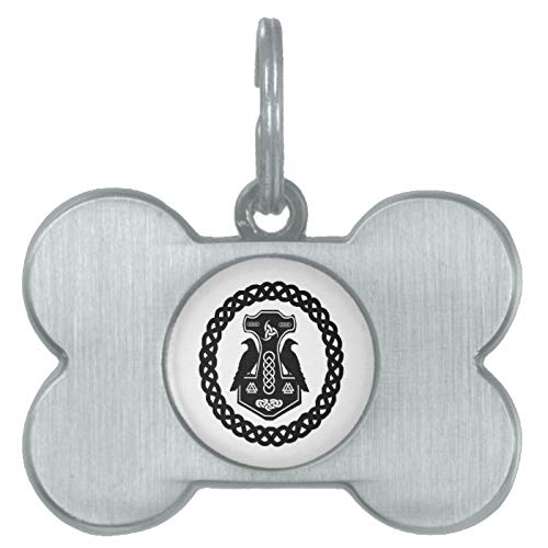 Stainless Steel Pet ID Tags, Thor's Hammer in Celtic Knot Circle Dog Tag, Dog Tags, Cat Tags, Bone Shaped ID Tag for Dogs and Cat
