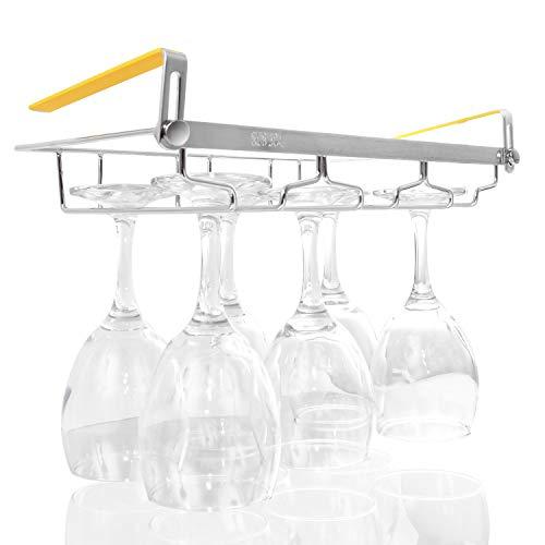 ワイングラス ホルダー 【新型改良版】 ワイングラスラック 【穴あけ不要でお手軽BAR仕様 (棚の厚さ調節可能) 4種類からお選びいただけます】 ステンレス製 ワイングラスホルダー (滑り止め付き) ワイングラスハンガー グラスハンガー グラスホルダー ワイングラス収納 ワインラック ワイン グラス 吊り下げ収納 キッチンラック 収納 キッチン収納ラック 吊り下げラック キッチン収納 キッチン用品 つりさげラック 吊り下げ キッチンしゅうのう棚 コップホルダー 吊り下げ棚 【SUN MIRAI】 (③3レーン*奥行18cm(最大6個収納可能))