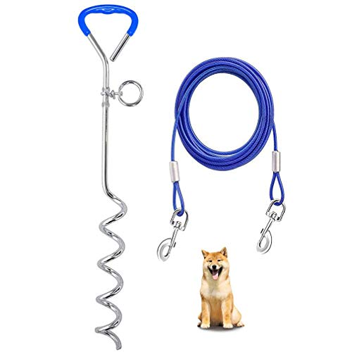 Correa de Perro,Cables con mosquetones para perros Espiga De Estaca En Tierra Espiral Cable de amarre para perro y estaca reflectante Salida para Patio Al Aire Libre Y Acampada Blue-16ft/5meter