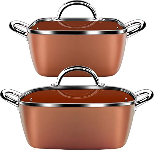 Lightning Deal Classic Induction Cookware Set, Cooking Pot and Pan Set,Non-stick Square Casserole,...