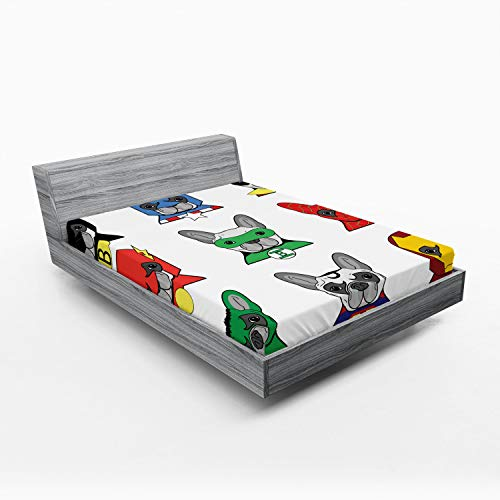 Ambesonne Superhero Fitted Sheet, Bulldog Superheroes Fun Cartoon Puppies in Disguise Costume Dogs with Print, Soft Decorative Fabric Bedding All-Round Elastic Pocket, Queen Size, White Green