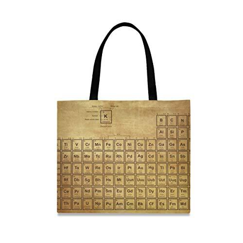 Bolso de mano Moda reutilizable Gran capacidad Casual Gimnasio Bolso Arte Vintage Tabla periódica Elementos