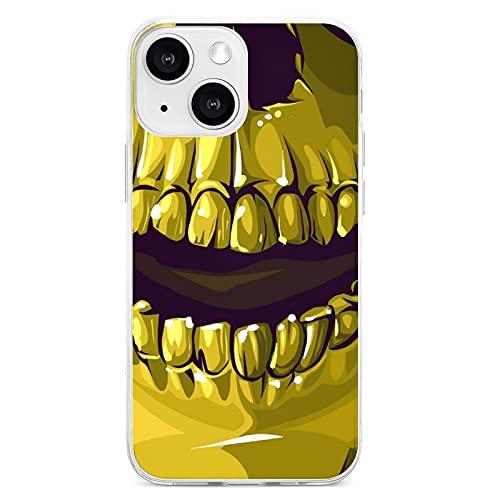 Máscara-cráneo-boca-oro-negro13 Carcasa del teléfono móvil; 13 mini carcasa del teléfono móvil; 13 pro carcasa del teléfono móvil; 13 pro max carcasa del teléfono móvil