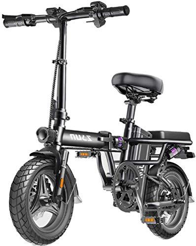 RDJM Bici electrica Bicicletas eléctricas for Adultos, Plegable E-Bici, Velocidad máxima 25 kilometros/h, la Carga máxima 150kg, 48V de Iones de Litio, Ecológico Bicicletas for conducción Urbana