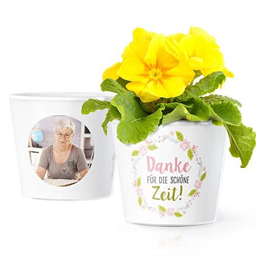 Facepot Abschiedsgeschenk Blumentopf (ø16cm) | Dankeschön Geschenk für Kollegen zum Abschied, Verabschiedung oder Jobwechel mit Bilderrahmen für 2 Fotos (10x15cm) | Danke für die schöne Zeit