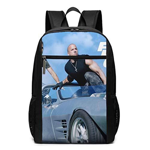 Fast & Furious 9 How We Roll Action Movie Paul Walker Mochila para portátil ajustable Bolsa de viajes turísticos para adultos Impresión 3D Pascua Día de la Madre Regalo