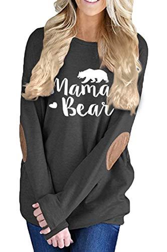 Pink Queen Women's Long Sleeve Mama Bear Printed Pachwork T-Shirts Black 2XL