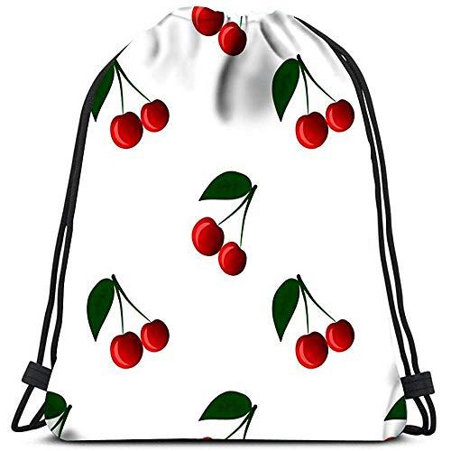 AllenPrint Kordelzug Tragetasche,Cherry Berry Gute Geschenkpapiere Und Texturangepasste Kordelzugbeutel Für Erwachsene Im Freien
