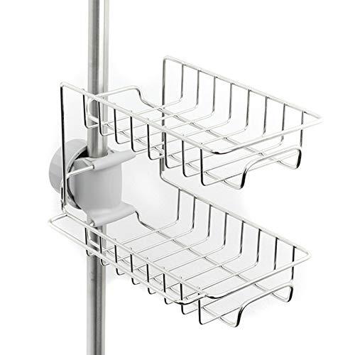 Woyada Organizador de fregadero de cocina, estante para grifo, estante de almacenamiento, soporte para esponja de jabón, cesta ajustable, escurridor de platos, resistente al óxido y duradero