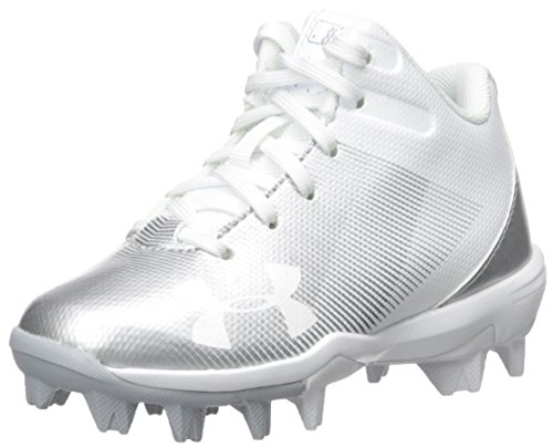 Under Armour Boys' Leadoff Mid Jr. RM Baseball Shoe, White (100)/White, 12K