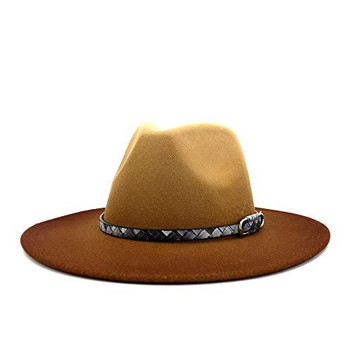 DANJIA 2020 - Gorro de fieltro para mujer con cinturón, diseño de jazz de lana cálida de poliéster, color 6, tamaño: 56 – 58 cm.