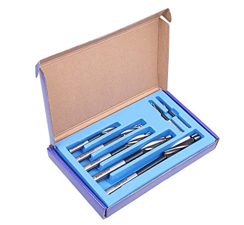 Accusize Industrial Tools H.S.S. Solid Cap Screw Counterbore Set, 3 Flute, Straight Shank, 7 Pc, 508S-0007