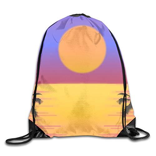 Ripped Drawstring Pack Coconut Tree Sunset Beam Mouth Gym Sack Rucksack Waterproof Shoulder Bags For Men & Women