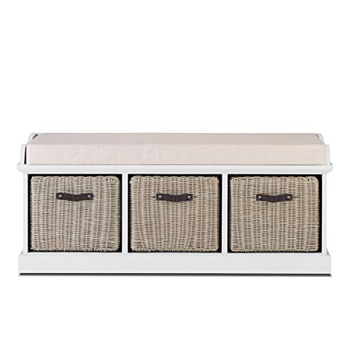 Tetbury Furniture white storage bench with brown baskets and cushion