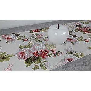 """ASTRA Tischläufer""""Rosen-Garten"""" Dekostoff, Mischgewebe, creme-weiß/rosa/grün, Rosenmuster, 130/46 cm"""