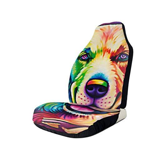 AEMAPE Color Dog (2) Fundas de asiento de coche con signo de la paz para el protector de asiento delantero del vehículo que se adapta a la mayoría de los coches, camiones, SUV
