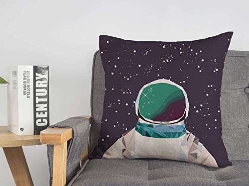Throw Pillow Cover Man Spaceman Astronaut Interstellar in Galaxy Space Geometric Origami People Universe Science Deep Modern Linen Decorative Pillow Cushion Case Home Decor 16 x 16 Inch
