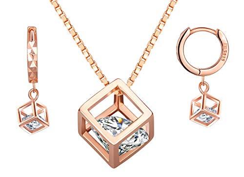 Collar de plata esterlina 925 para mujer, colgante de cubo de rubik de diamantes, pendiente de diamantes, juegos de joyas, regalo de cumpleaños de navidad