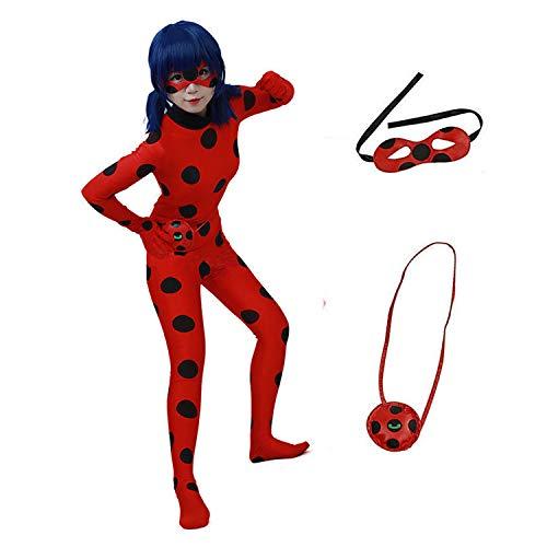 albright Kids Festlich Jumpsuit Marienkäfer Cosplay Kostüm für Mädchen(Gr.110/116), Party Halloween Karneval Weihnachten Fasching Kostüm mit Maske & Tasche