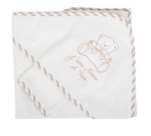 Nissanou BGJPM Bademantel mit Waschlappen, Geschenkidee zur Geburt