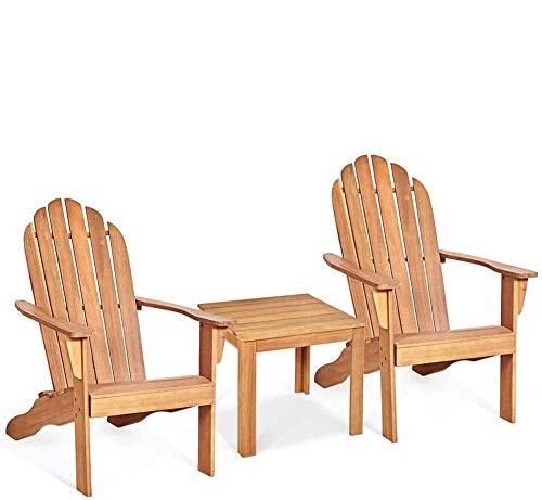 DFKDGL Juego de sillas y Mesa Adirondack, mesas y sillas de Patio para Exteriores e Interiores Resistentes a la Intemperie y a la oxidación, para Patio, Patio, Paquete de 3 fogatas