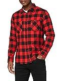 Urban Classics Checked Flanell Shirt - Camisa, color negro / rojo, talla S