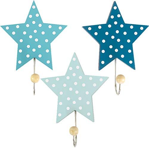 LS-LebenStil Kinder Kleiderhaken Set 3 Sterne Blau 11x11x15cm Wandhaken Garderobe