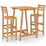 Ksodgun Mesa y sillas de Bar para jardín 3 pzas Madera Conjunto de Sillas Set Muebles de Jardin Maciza de Acacia