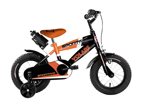 Volare Sportivo Kinderfahrrad - Jungen - 12 Zoll - Neon Orange Schwarz - 95% zusammengebaut