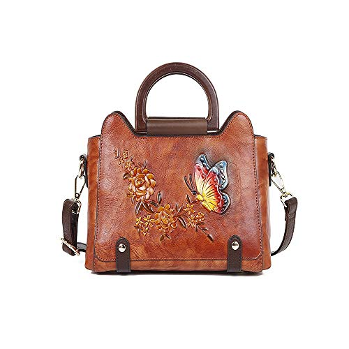 Dames business-serie, wafelpatroon, vlinder, bloem van de liefde, diagonaal, tas, tas, voor de eerste keer luier, rugzak gemaakt van leer (kleur: bruin)