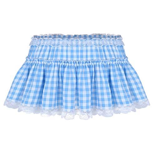 Agoky Women's Men's Lingerie Lace Frilly Ruffles Short Plaid Skirt Crossdressing Mini Skirt Light Blue Large