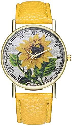 JZDH Mano Reloj Reloj de Pulsera Simple Luxury PU Relojes de Cuero Cuarzo Relojes de Pulsera Sunflower Pintura Mujer Señoras Pareja Pareja Reloj Reloj Joyería Relojes Decorativos Casuales
