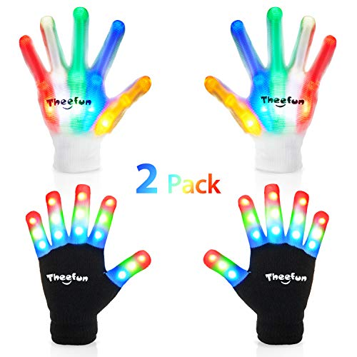 Theefun Led Gloves with Extra 8 Batteries for Kids, Finger Light Up Flashing Gloves with Multicolor Skeleton LED Gloves for Halloween,, Dance Costumes, Kids Games, Light-up Party. 2 Pair,Medium