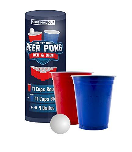 Offizielles Beer Pong Kit | Partybecher und Beer Pong Bälle | Premium Qualität | 22 Cups (11 rot und 11 blau) | 4 Bälle | Wiederverwendbar | Trinkspiel | Partyspiel | OriginalCup®