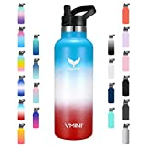Vmini Water Bottle - Standard Mouth Stainless Steel & Vacuum Insulated Bottle, New Straw Lid with Wide Handle, Gradient Blue+White+Red & 22 oz