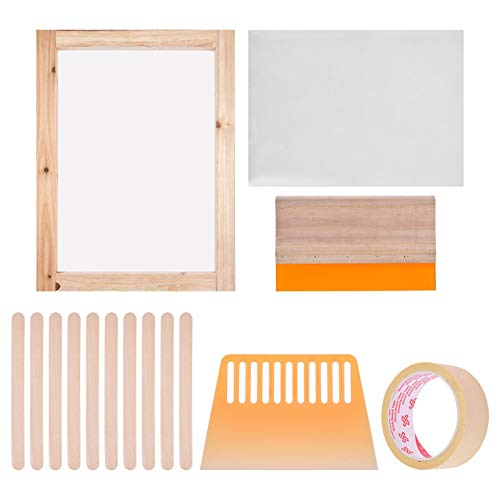 Dough.Q Serigrafia Kit, Pantalla Serigrafia, 6 Piezas Duradero y Seguro Serigrafia Kit Herramientas para Principiantes Set