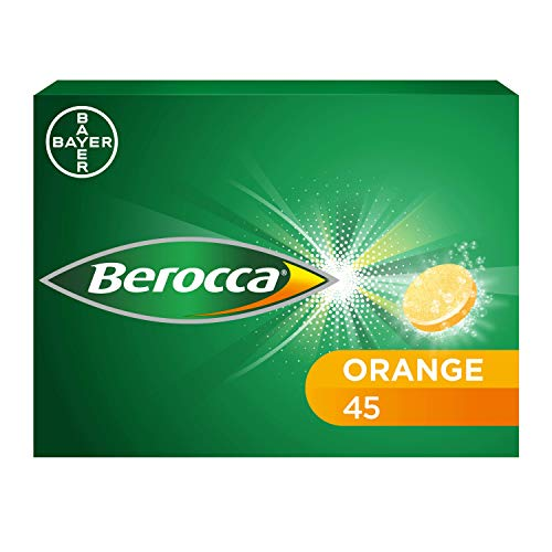 Berocca Vitamin C Effervescent Tablets, with Magnesium, Vitamin B12 & Vitamin B Complex, Orange Flavour, 1 Pack of 45 Tablets - 6 Weeks Supply