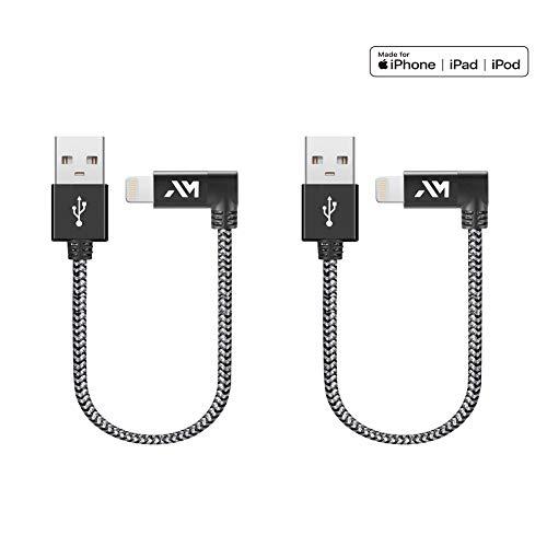 Lightning Kabel, Amazer iPhone Ladekabel [Apple MFi Zertifiziert] 90 Grad Winkel Stecker für iPhone - 0.2m*2
