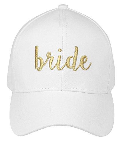 H-2018-B-0902 Bridal Baseball Cap - Bride (White/Gold)