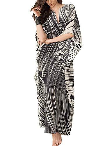 Orshoy Lange Kleider Damen Kleid Langarm Kaftan Boho Maxikleider Große Größen V-Ausschnitt Kimono Maxi Badeanzüge Sommer Kleid Überwurf Schwarz Striped