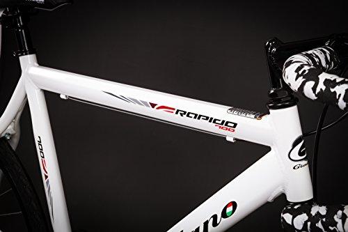 28″ Zoll Alu Rennrad Single Speed GIORDANO Race Bike Fixi Fahrrad Rh 56cm weiss - 4