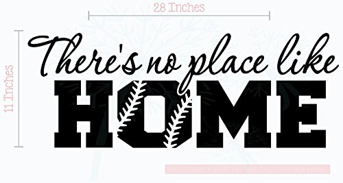 Bedroom Décor No Place Like Home Softball Wall Decals Vinyl Lettering Art 28x11-Inch Blk