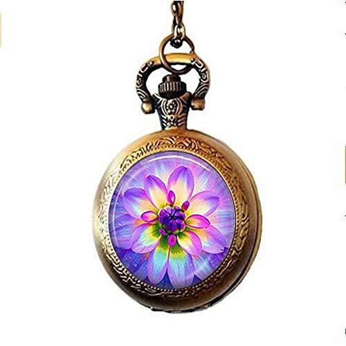 Lotus - Collar de reloj de bolsillo hecho a mano, diseño de flor de loto