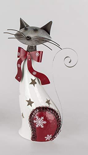 Formano Dekofigur Katze als Windlicht aus Porzellan und Metall 31 cm hoch