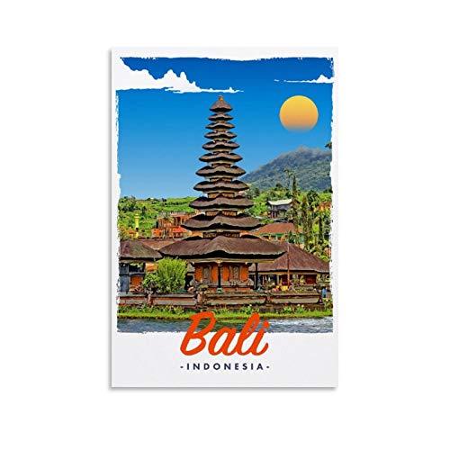 Bali Indonesien Retro Vintage Reise-Poster Leinwand Kunst Bild Home Decor Poster für Wohnzimmer Wanddekoration 30 x 45 cm