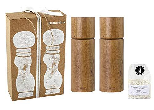 AdHoc Set Acacia pepermolen en zoutmolen natuur 17 cm Dekomiro cadeauset met 100 gram Zout.