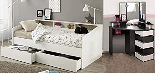 expendio Jugendzimmer Selby 32 Weiß Schwarz90x200 Kojenbett 2X Bettkasten Bett Schminktisch Frisierkommode Kinderzimmer