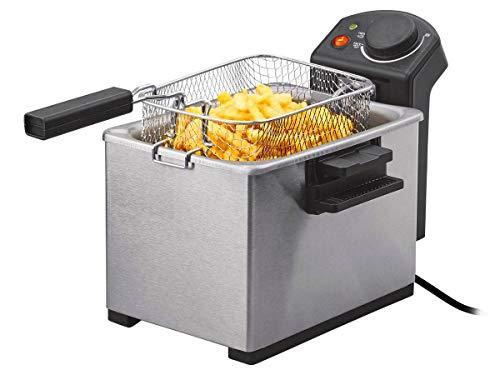 SEF 2300 D3 RVS friteuse met koude zone-technologie, 4 l friteuse met 2300 watt, uitneembaar verwarmingselement en oliepuip, deksel met kijkvenster, friteuse frietmachine | zwart/roestvrij staal