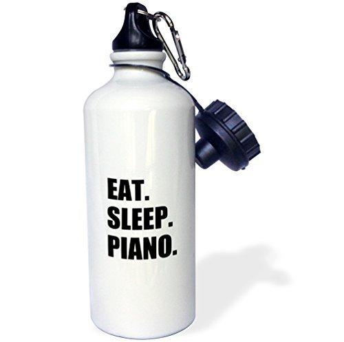 Cukudy waterfles cadeau voor kinderen meisje jongen, eten slaap piano cadeau voor pianist spelen muzikanten muziek zwart roestvrij staal waterfles voor school kantoor reizen 21oz